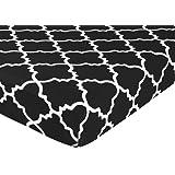 Sweet Jojo Designs Fitted Crib Sheet for Red, Black and White Lattice Baby/Toddler Bedding - Trellis Print