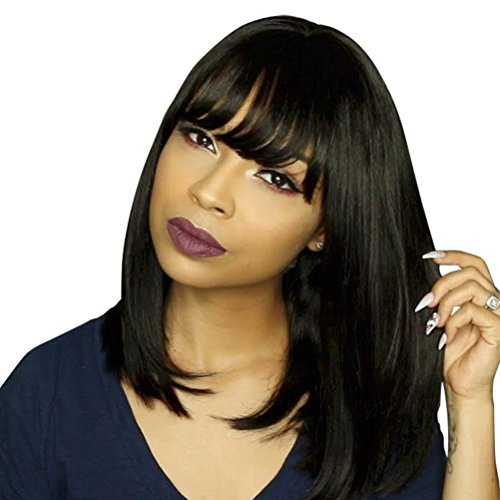 (BLSWANER Bob Wigs Short Straight Yaki Synthetic Full Hair Black Wig for Women Heat)