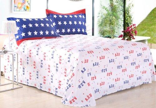 Cliab American Flag Bedding X-long Twin 100% Cotton Duvet Cover Set 5 Pieces