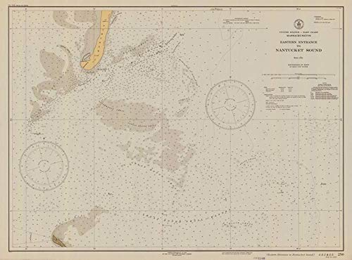 Vintography Reprinted 8 x 12 Nautical Map of Eastern Entrance to Nantucket Sound 0 US Coast & Geodetic Survey - Entrance Eastern