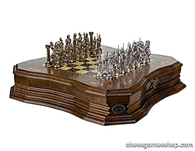 Handmade chess set ANTIQUE ASHWOOD chessmen rosewood mosaic chess board - GIFT iTEM