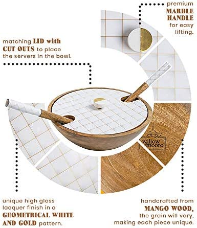 Decorative Wooden Salad Bowl Set White & Gold, mango picket salad bowl with servers & lid, huge picket fruit bowl, wood salad bowl units, picket bowl with server, picket bowl for meals, Wooden Bowls with lid