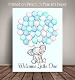 "Watercolor Elephant Balloon Art Print, GuestBook Alternative, 11""x14"" 40 Balloons, Nursery Art Print, Balloon Sign in Guest Book Poster WCETB-40"