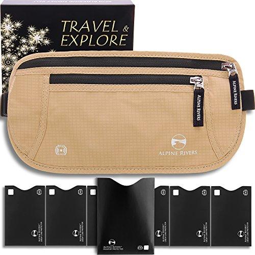 Travel Money Belt - RFID Blocking Hidden Wallet + 7 Bonus Sleeves