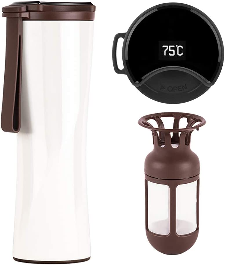 Aislado al Vac/ío Taza de t/é Reutilizable 500ML Antigoteo Taza de Viaje Sin BPA FAGORY Termo de Caf/é Port/átil Termo Taza Frasco de Vac/ío de Acero Inoxidable T/érmica de Doble Pared