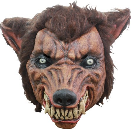 Ratwolf Snarling Werewolf Latex & Fur Scary Halloween Head Mask by GHOULISH (Mask Halloween Werewolf Fur)