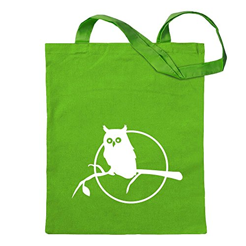 Owl on a branch - Owl on a branch Jute school fitness shopping bag long handle