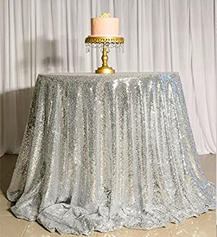 ShinyBeauty Sequin Tablecloth Silver 70Inch Round Sequin Table Cover,Sparkly  Sequin Table Cloth