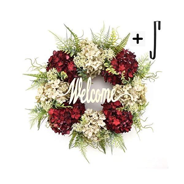 Wreath for Front Door Handmade Hydrangea Wreath,letter wreaths for front door,Fall Wreath,farmhouse door wreaths,Grapevine Wreath,spring summer wreaths for front door,Everyday Wreath (18 inches)