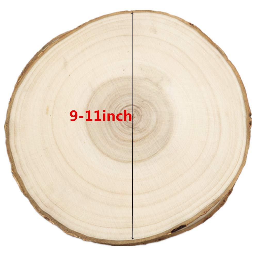 Natural Wood Slices Unfinshed Round Poplar Wood Slabs 9\'\' to 11\'\' 4 Pack Large Rustic Wood Pieces with Tree Bark for Wedding Centerpiece DIY Projects Table Chargers