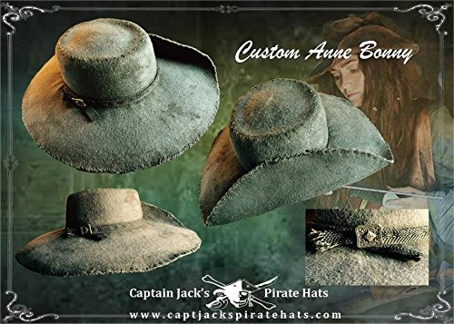 Women's Classic 1700's Handmade Rustic Real Pirate Hat Inspired by Black Sails Movie Version Anne Bonney by Captain Jack's Pirate Hats