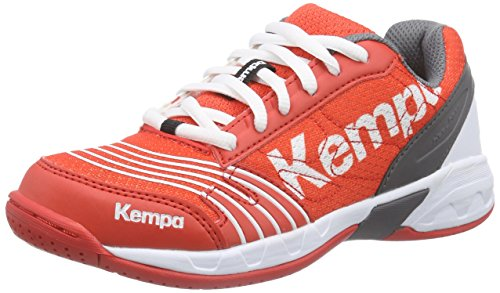 Kempa STATEMENT ATTACK JUNIOR, Unisex-Kinder Handballschuhe, Mehrfarbig (fire red/grau/weiß), 33 EU