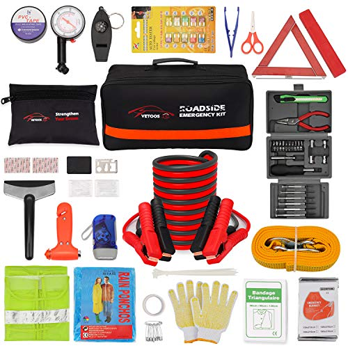 Vetoos Roadside Emergency Car Kit with Jumper Cables, Auto Vehicle Safety Road Side Assistance Kits, Winter Car Kit for…