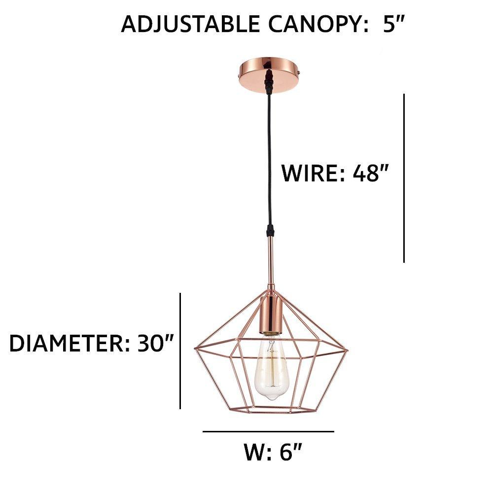 Ohr Lighting Zeshoek Geometric Modern Design Cage Pendant Chandelier Fixture Wiring Diagram Adjustable Wire Cooper