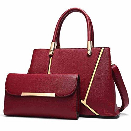 En Sacs Body Pièces Mode Sac Top Handle Épaule Platinum Sacs Femmes à Bag PU Deux Mesdames Cross red Cuir Main IfBRUnF