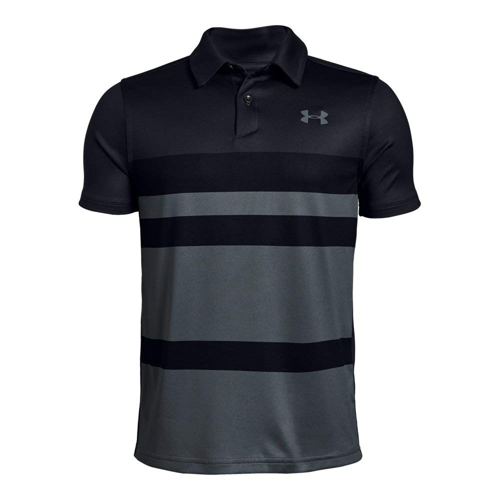 Under Armour Tour Tips Engineered Polo, Jet Gray//Pitch Gray, Youth X-Large