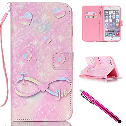 iPhone 5S Case, iPhone 5 Wallet Case, Firefish [Kickstand] [Shock Absorbent] Double Protective Case Flip Folio Slim Magnetic Cover with Wrist Strap for Apple iPhone 5/5S/SE-Love