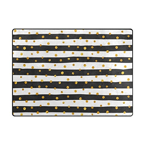 ALAZA Super Soft Modern Gold Dots White And Black Stripes Area Rugs Living Room Carpet Bedroom Rug for Children Play Solid Home Decorator Floor Rug and Carpets 63 x 48 -