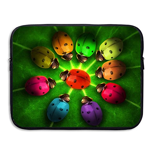 (Sunmoonet Laptop Sleeve, Rainbow Ladybugs 13 Inch 15 Inch Laptop Sleeve, Electronics Bag Neoprene Protective Waterproof Slim Laptop Sleeves Notebook Bag Cover For Women Men Fathers Day Gifts)