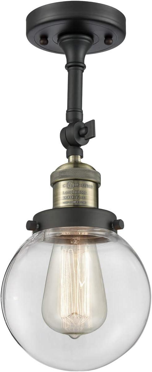 Innovations 201F-BAB-G202-6-LED 1 Light Vintage Dimmable LED Semi-Flush Mount Black Antique Brass