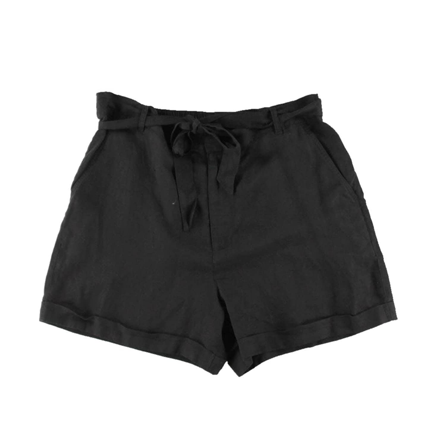Pure DKNY Womens Linen Cuffed Casual Shorts