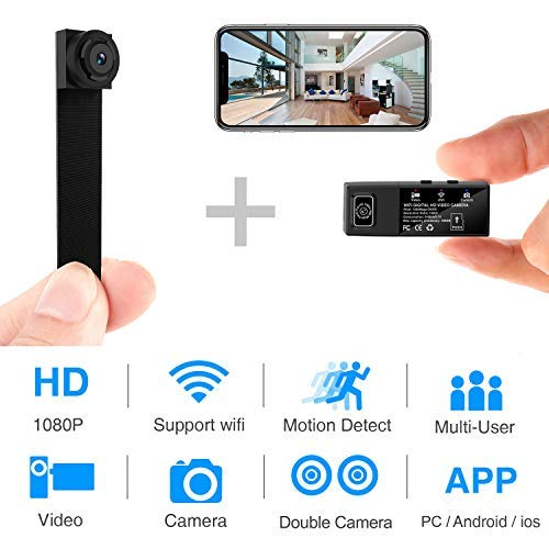 Hidden Spy Camera Wi-Fi Mini Camera 1080P HD Portable Wireless Camcorder Video Recorder IP Cameras with 2 Interchangeable Lens Motion Detection for Home Security Monitoring (Newest App)