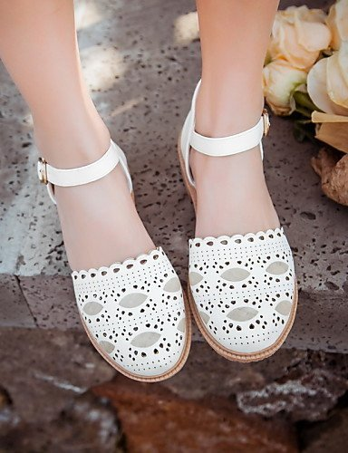 ShangYi Women's Shoes Leatherette Low Heel Round Toe Sandals Casual Pink / White / Gray / Beige Grey pa8o0