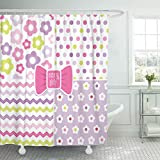 Hot Pink Chevron Shower Curtain Emvency Shower Curtain Girl of Retro Patterns in Pink and Purple for Baby Mother's Day Easter Chevron Shower Curtains Sets with Hooks 72 x 72 Inches Waterproof Polyester Fabric