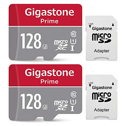Gigastone 128GB 2-Pack Micro SD Card with Adapter, U1 C10 Class 10, Full HD available, Micro SDXC UHS-I Memory Card