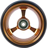 RIANTWHEEL, 4''X 1.4'', Solid, PU Wheels, Wheelchair Casters, Aluminum Rim, one Pair (Gold)