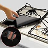 apple stove burner - LtrottedJ 2PCS Universal Stove Burner Covers Protector Sheets Oven Liner Reusable (Black)