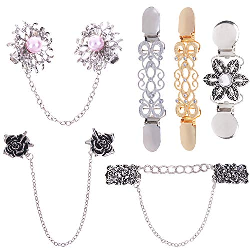 (LOCOLO Vintage Sweater Shawl Clips Cardigan Collar Clips Flowers Patterns for Women Girls (6) Gold, Silver)
