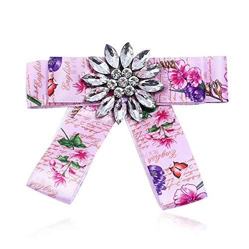 Halloween Screams Fireworks (Women Rhinestone Striped Pearl Satin Ribbon Bow Tie Brooch Pin Wedding Jewelry | Color -)