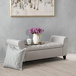 Christopher Knight Home Living Lamara Light Grey Fabric Armed Storage Bench, 19.50″ D x 50.00″ W x 19.25″ H