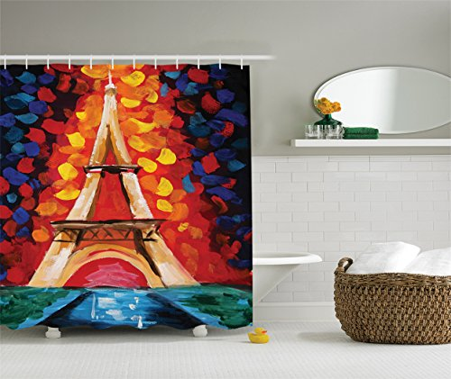 Paris France Oil Painting - Ambesonne Lakehouse Decor Collection, Eiffel Tower Paris France a Romantic Night with Colorful Lights Oil Painting, Polyester Fabric Shower Curtain, 75 Inches Long, Black Red Orange Navy Ivory