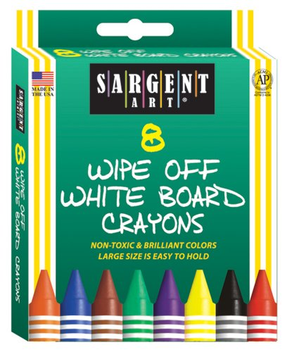 Wipe Off Crayons (Sargent Art 35-0521 8-Count Regular Wipe-Off White Board Crayons, Peggable)