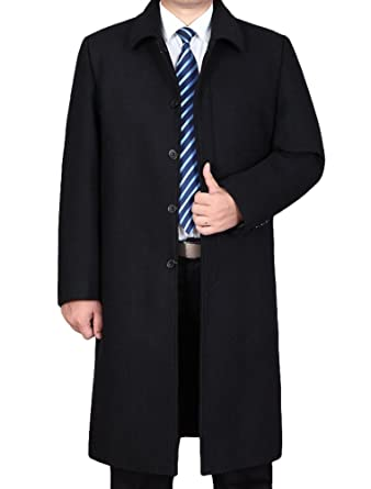 Vogstyle Men's Woolen Trench Coat Long Slim Fit Business Outfit Jacket Overcoat