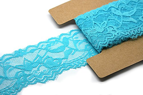 Stretch Lace Elastic - 10 Yards - 2 Inch Wide - Trim Lace for Headbands Garters (Turquoise) -