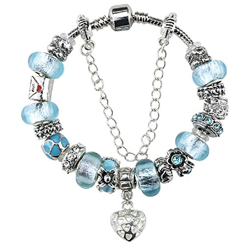 Silver Plated Heart Charm Bracelet with Charms for Pandora Sea Blue Love Letter Christmas and Birthday Gift for Girl 10 Year Old and Teenage 7 inch Jewelry DIY Hand Made Glass Beads Birthstones March Christmas Gift For 10 Year Old Girl
