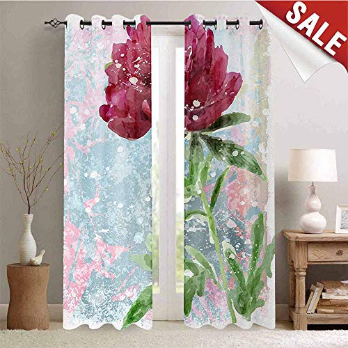 Hengshu Floral Waterproof Window Curtain Peony Flower Murky Blossom Nature Beauty Growth Retro Picture Decorative Curtains for Living Room W96 x L108 Inch Magenta Fern Green Light - Peony Nikkis
