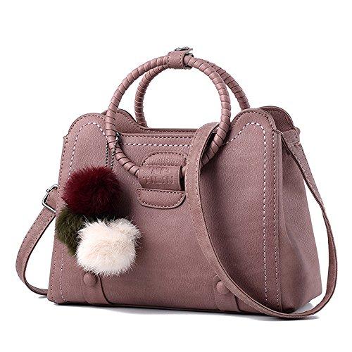 (JVPS14-P) Bolso de hombro de las mujeres bolso de cuero de la PU 3 vías de vuelta celebridad en el extranjero mujeres diagonal resistente al agua de gran capacidad de moda lindo suburbio luz Rosa