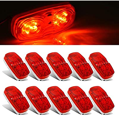 Partszone 10Pcs Red Side Marker Lights Double Bullseye 10 LED Trailer Clearance Light Bulls Tiger Eye for Truck RV Boat Camper Trailers: Automotive