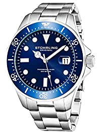 Stuhrling Original Men's 824.02 Aquadiver Quartz Date Blue Dial Stainless Steel Bracelet Watch