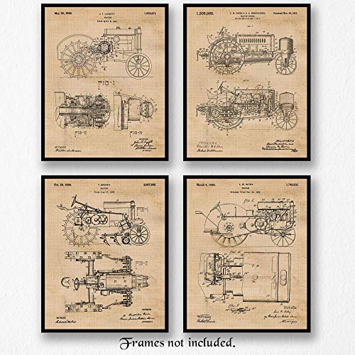 - Original John Deere Tractor Patent Art Poster Prints - Set of 4 (Four8x10) Unframed Pictures - Great Wall Art Decor Gifts Under $20 for Home, Office, Garage, Man Cave, Teacher, Farmer, Rancher, Cowboy