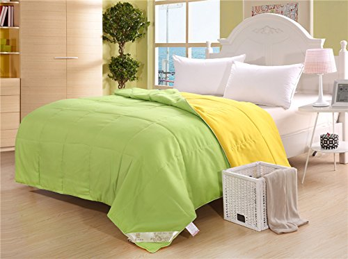 Zhiyuan Solid Brushed Microfiber Lightweight Washable Quilted Summer Duvet,Twin,Apple Green & Yellow