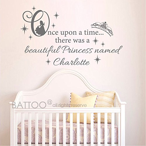 BATTOO Name Wall Decal Girl Princess Crown - Once upon a time Vinyl Lettering Decal- Custom Decals Personalized Name Decor Nursery Baby Room Art