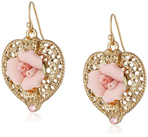 - 1928 Jewelry Gold-Tone Pink Crystal and Porcelain Rose Filigree Heart Drop Earrings