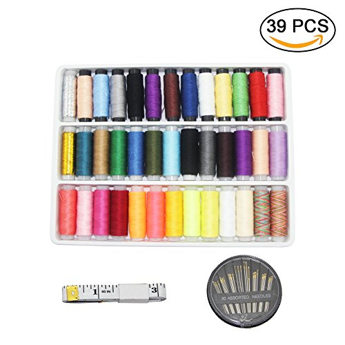 YiwerDer Sewing Thread Assortment Spools 39 Color 200 Yards Each, with Sewing Needles and Soft Measuring Tape, Polyester Threads kits for Hand and Machine Sewing - Multi Colored Polyester Thread
