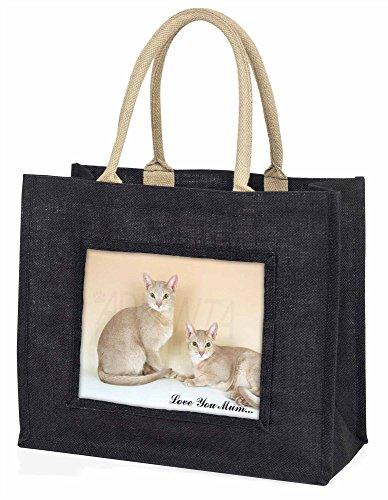 Advanta–Große Einkaufstasche abyssynian Katzen Love You Mum Große Einkaufstasche Weihnachtsgeschenk Idee, Jute, schwarz, 42x 34,5x 2cm