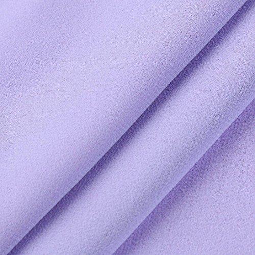 wuayi Chemisier Courtes Uni Violet Femme Manches q4HdprwqR